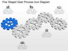 Ls Five Staged Gear Process Icon Diagram Powerpoint Template Slide