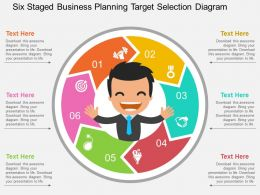 Ls Six Staged Business Planning Target Selection Diagram Flat Powerpoint Design