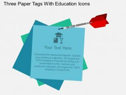 ls Three Paper Tags With Education Icons Flat Powerpoint Design