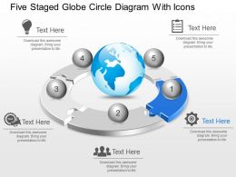 Lt Five Staged Globe Circle Diagram With Icons Powerpoint Template Slide