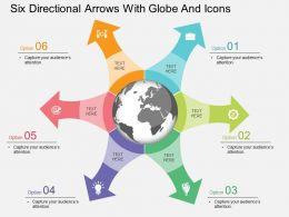 lt Six Directional Arrows With Globe And Icons Flat Powerpoint Design