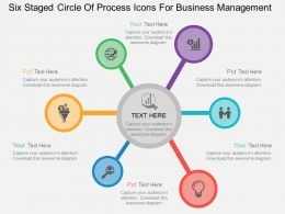 Lt Six Staged Circle Of Process Icons For Business Management Flat Powerpoint Design