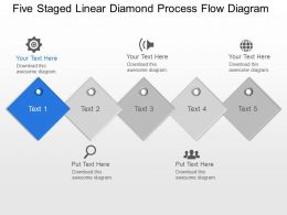 Lu Five Staged Linear Diamond Process Flow Diagram Powerpoint Template Slide
