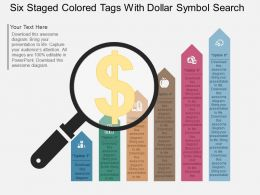 Lu Six Staged Colored Tags With Dollar Symbol Search Flat Powerpoint Design