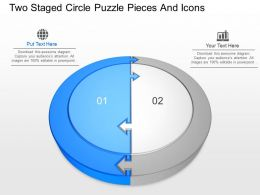 lu Two Staged Circle Puzzle Pieces And Icons Powerpoint Template