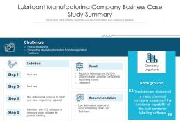 Lubricant Manufacturing Company Business Case Study Summary