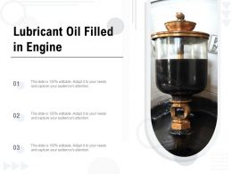 Lubricant Oil Filled In Engine
