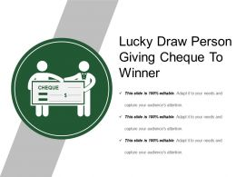 Lucky Draw Person Giving Cheque To Winner