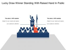 Lucky Draw Winner Standing With Raised Hand In Public