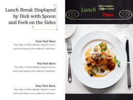 Lunch Break Displayed By Dish With Spoon And Fork On The Sides