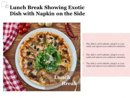 Lunch Break Showing Exotic Dish With Napkin On The Side