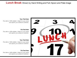 Lunch Break Shown By Hand Writing And Fork Spoon And Plate Image