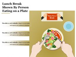 Lunch Break Shown By Person Eating On A Plate