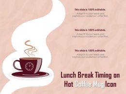 Lunch Break Timing On Hot Coffee Mug Icon