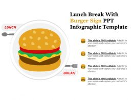 Lunch Break With Burger Sign Ppt Infographic Template