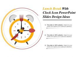 Lunch Break With Clock Icon Powerpoint Slides Design Ideas