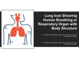 Lung Icon Showing Human Breathing Or Respiratory Organ With Body Structure