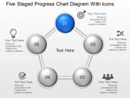 Lv Five Staged Progress Chart Diagram With Icons Powerpoint Template Slide