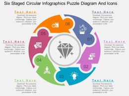 lv Six Staged Circular Infographics Puzzle Diagram And Icons Flat Powerpoint Design