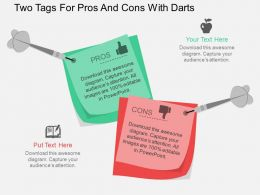 lv Two Tags For Pros And Cons With Darts Flat Powerpoint Design
