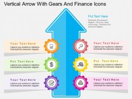 lw Vertical Arrow With Gears And Finance Icons Flat Powerpoint Design