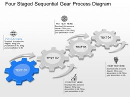 ly Four Staged Sequentail Gear Process Diagram Powerpoint Template