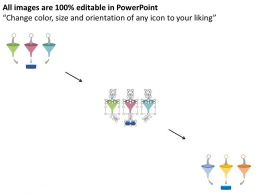 ly Three Funnels With Sorting Process Flow Arrows Flat Powerpoint Design