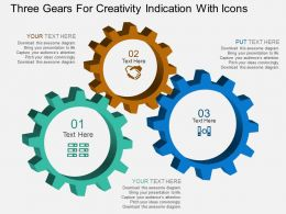 lz Three Gears For Creativity Indication With Icons Flat Powerpoint Design