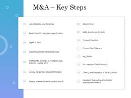 M And A Key Steps Ppt Powerpoint Presentation Styles File Formats