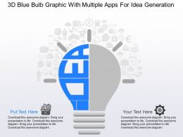 ma 3d Blue Bulb Graphic With Multiple Apps For Idea Generation Powerpoint Temptate