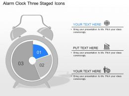 ma Alarm Clock Three Staged Icons Powerpoint Template