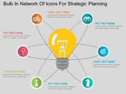 ma Bulb In Network Of Icons For Strategic Planning Flat Powerpoint Design