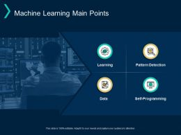 Machine Learning Main Points Pattern Detection Self Programming Ppt Powerpoint Presentation Layouts Styles