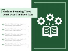 Machine Learning Three Gears Over The Book Icon