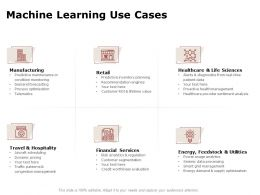 Machine Learning Use Cases Ppt Powerpoint Presentation Summary