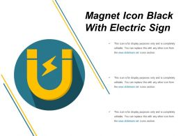 Magnet Icon Black With Electric Sign