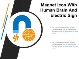 Magnet Icon With Human Brain And Electric Sign