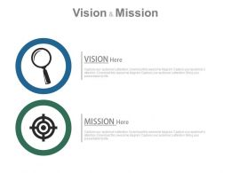 Magnifier And Target Board For Vision And Mission Powerpoint Slides