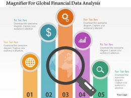 Magnifier For Global Financial Data Analysis Flat Powerpoint Design
