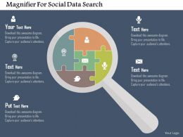 Magnifier For Social Data Search Flat Powerpoint Design