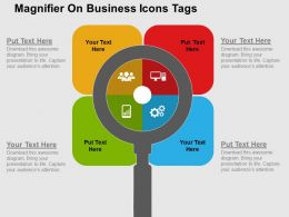 Magnifier On Business Icons Tags Flat Powerpoint Design