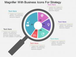 Magnifier With Business Icons For Strategy Flat Powerpoint Design
