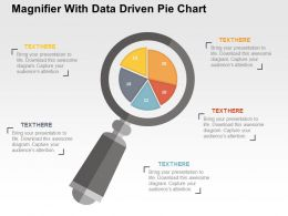 Magnifier With Data Driven Pie Chart Powerpoint Slides