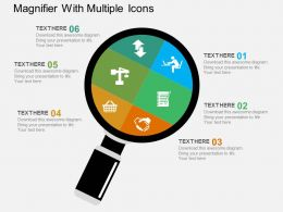 Magnifier With Multiple Icons Flat Powerpoint Design