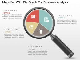 Magnifier With Pie Graph For Business Analysis Powerpoint Slides
