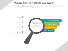 Magnifier With Tags For Data Research Powerpoint Slides
