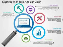 magnifier_with_tools_and_bar_graph_flat_powerpoint_design_Slide01