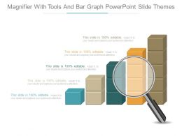 Magnifier With Tools And Bar Graph Powerpoint Slide Themes