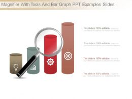 Magnifier With Tools And Bar Graph Ppt Examples Slides