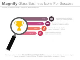 Magnifying Glass Business Icons For Success Powerpoint Slides